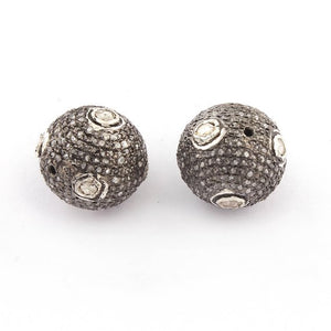 1 PC Pave Diamond with Rose Cut Diamond 925 Sterling Silver Round Ball Bead - Bead With Hole - Polki Beads 13mm-20mm PDC1195 - Tucson Beads