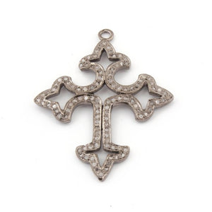 1 Pc Pave Diamond Roman Cross Charm Over 925 sterling Silver Pendant - 46mmx36mm PDC120 - Tucson Beads