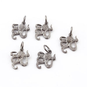 5 Pcs Pave Diamond Octopus Charm Pendant Over 925 Sterling Silver 15mmx14mm PDC1221 - Tucson Beads