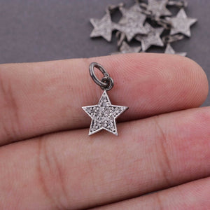 1 Pc Pave Diamond Star Charm Over 925 Sterling Silver Single Bail Pendant - Star Pendant 13mmx10mm PDC1269 - Tucson Beads