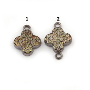 1 Pc Multi Sapphire Clover 925 Sterling Silver Pendant & Connector 13mm-15mm PDC1270 - Tucson Beads