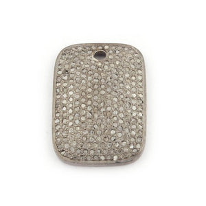 1 Pc Pave Diamond 925 Sterling Silver Rectangle Pendant - Diamond Charm Pendant 23mmX16mm PDC1271 - Tucson Beads