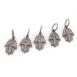 1 Pc Pave Diamond Hamsa Charm 925 Sterling Silver Single Bail Pendant - Hamsa Charm Pendant 15mmx9mm PDC130 - Tucson Beads