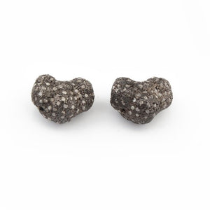 1 Piece Pave Diamond Fancy Shape Beads Over 925 Sterling Silver - 13mmx12mm PDC156 - Tucson Beads