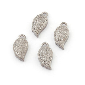 1 Pc Pave Diamond Leaf Charm Pendant Over 925 Sterling Silver -Leaf Charm pendant 12mmx6mm Pdc245 - Tucson Beads