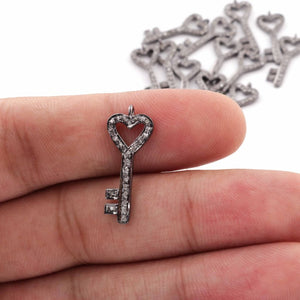 1 Pc Pave Diamond 925 Sterling Silver Lock Key Charm Pendant , Love Key Charm pendant - 23mmX9mm PDC407 - Tucson Beads