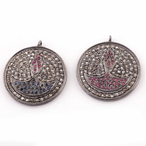1 Pc Pave Diamond With Blue Sapphire And Ruby Lamp Charm Round Pendant-925 Sterling Silver 22mmx19mm PDC408 - Tucson Beads