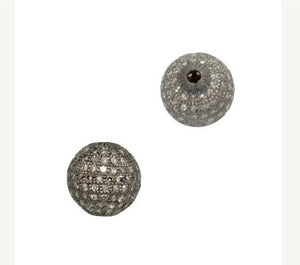 1 PC Pave Diamond Antique Finish Round Ball Bead 925 Sterling Silver - 10mm PDC415 - Tucson Beads