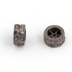 1 Pc Pave Diamond Double Line Designer Spacer Beads 925 Sterling Silver - 10mm PDC423 - Tucson Beads