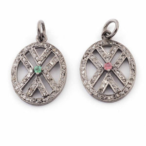 1 PC Pave Diamond Ruby & Emerald Gemstone Oval Charm Pendant -925 Sterling Silver 22mmx16mm PDC426 - Tucson Beads