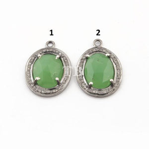 1 Pc Pave Diamond Chrysoprase Oval 925 Sterling Silver Pendant - Chrysoprase Pendant 20mmx14mm PDC531 - Tucson Beads