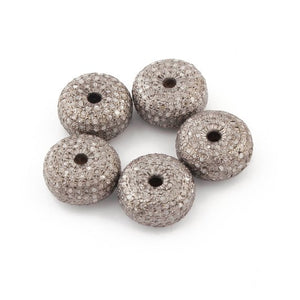 Excellent Quality 1 Pc Pave Diamond 925 Sterling Silver Rondelles Beads - Diamond Bead 12mm PDC621 - Tucson Beads