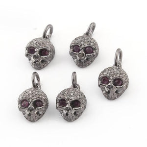 1 Pc Pave Diamond Skull Charm with Ruby Eye 925 Sterling Silver Pendant - 13mmx9mm PDC622 - Tucson Beads