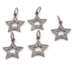 Bulk Wholesale 5 Pcs Pave Diamond Star Charm Over 925 Sterling Silver Single Bail Pendant - Star Pendant 16mmx14mm PDC625 - Tucson Beads