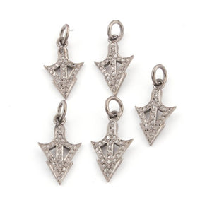 Bulk Lot Wholesale 5 Pieces Natural Pave Diamond Arrow Charm 925 Sterling Silver Single Bail Pendant 22mmX12mm PDC638 - Tucson Beads