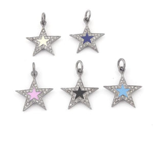 1 Pc Pave Diamond Bakelite Star 925 Sterling Silver Pendant 20mmx17mm PDC639 - Tucson Beads