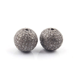 1 PC Pave Diamond Round Ball Beads 925 Sterling Silver- Antique Finish Round Bead 12mm PDC660 - Tucson Beads
