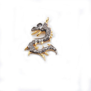 1 Piece Pave Diamond 925 Sterling vermeil dragon Charm Pendant -- 19mmx8mm PDC688 - Tucson Beads