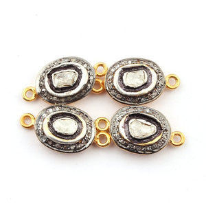 2 Pcs Pave Diamond With Rose Cut Diamond 925 Sterling Vermeil Oval Connector 18mmx9mm PDC716 - Tucson Beads