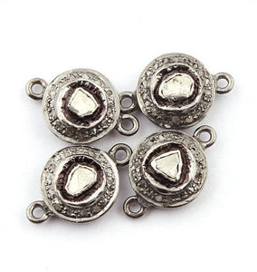 2 Pcs Pave Diamond With Rose Cut Diamond 925 Sterling Silver Round Double Bail Connector 17mmx11mm PDC717 - Tucson Beads