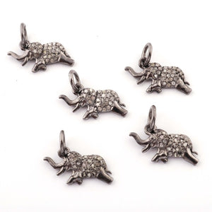 1 Pc Pave Diamond Elephant Charm 925 sterling Silver Pendant - 10mmx18mm PDC748 - Tucson Beads