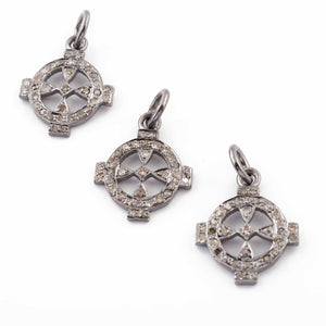 1 Pc Pave Diamond Round With Cross Charm 925 Sterling Silver Pendant - 17mmx14mm PDC750 - Tucson Beads