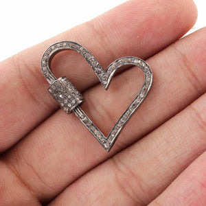 1 PC Pave Diamond Heart Lock 925 Sterling Silver - Diamond Heart Lock with Screw On Mechanism 30mmx26mm PDC754 - Tucson Beads