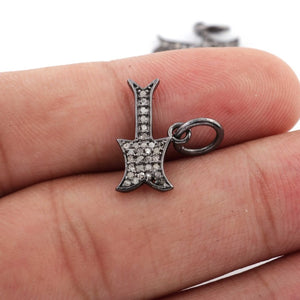 1 PC Pave Diamond Designer Guitar Charm 925 Sterling Silver Pendant - Diamond Guitar Pendant - 16mmx10mm PDC789 - Tucson Beads