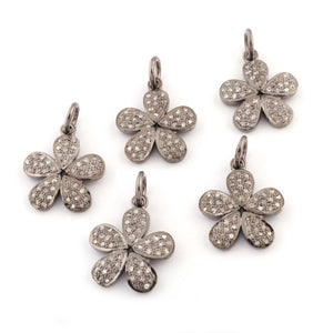 1 PC Pave Diamond Flower Charm 925 Sterling Silver Single Bail Pendant- 18mmx15mm PDC796 - Tucson Beads