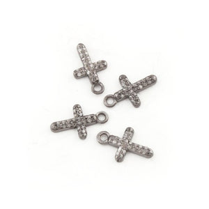2 Pcs Pave Diamond Cross Charm 925 Sterling Silver Single Bail Pendant - 12mmx7mm PDC894 - Tucson Beads
