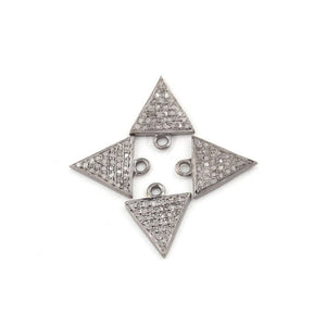 2 Pcs Pave Diamond Trillion Charm 925 Sterling Silver Single Bail Pendant - Trillion Charm Pendant 12mmx10mm PDC896 - Tucson Beads