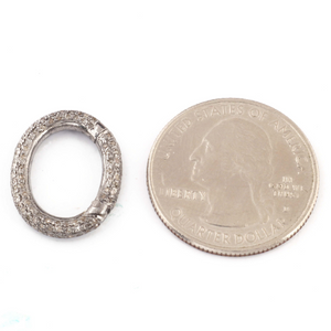 1 Pc Pave Diamond Fancy 925 Sterling Silver Oval Lock - Diamond Oval Lock 19mmx15mm PDC936 - Tucson Beads
