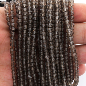 5 Strands Smoky Quartz Faceted AAA Quality Rondelles 3.5mm to 4mm 13.5 inch strand RB083 - Tucson Beads