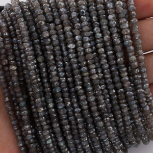 5 Strands Labradorite Silver Coated Finest Quality Rondelles 3mm to 4mm 13.5 inch strand RB092 - Tucson Beads