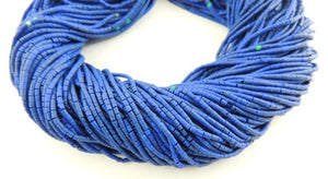 10 Strands Lapis Heishi Hand Cut Beads--lapis beads 1.1 x 1.7 mm to 1.9 x 2.2mm 12 inch long RB066 - Tucson Beads