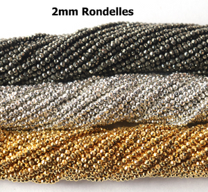 5 Long Strands Natural,Silver & Gold Pyrite Micro Faceted Tiny Rondelles - Natural Pyrite Roundles Beads 2mm 13 Inches RB173 - Tucson Beads
