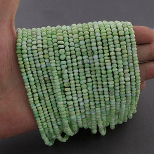 5 Long Strands Ex+++ Quality 3mm-4mm Shaded Green Opal Faceted Rondelles - 13 Inches RB127 - Tucson Beads