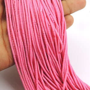 10 Strands Light Pink Heishi Hand Cut Beads--Pink Beads 1.1 x 1.8 mm to 1.9 x 1.7mm 12 inch long RB254 - Tucson Beads