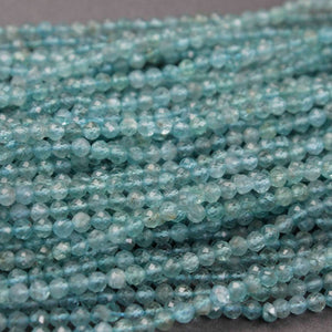 5 Strands Excellent Quality Apatite Faceted Rondelles - Apatite Roundles Beads 3mm-4mm 13.5 Inches RB372 - Tucson Beads