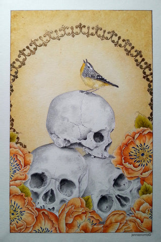 Bliss of Ignorance by Jennie Norris - Watercolor & Pencil Drawing of Bird and Flowers