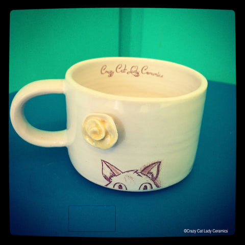 Cat mug by Crazy Cat Lady Ceramics