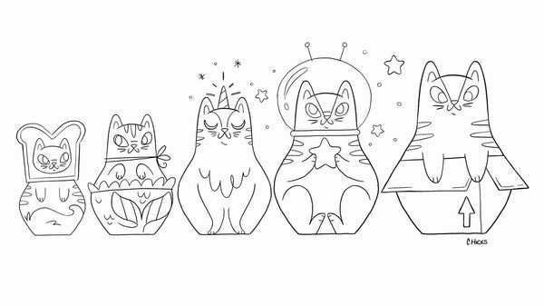 Cat Nesting Dolls by Caley Hicks