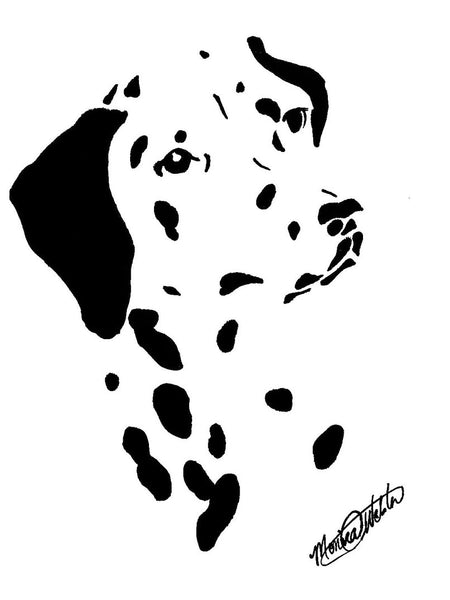 Dalmation Black and White illustration by Monica Webster