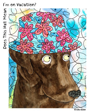 """Does This Hat"" painting of dog in hat by artist Jules Gissler"