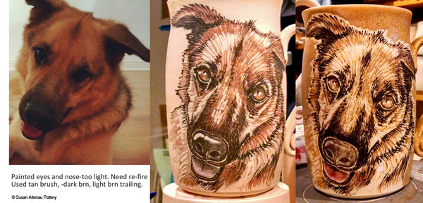 Dog portrait progression by Susan Altenau