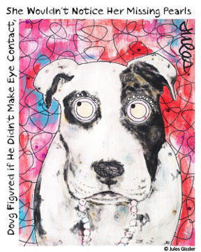 """Doug Figured"" painting of Dog in Pearls by Jules Gissler"