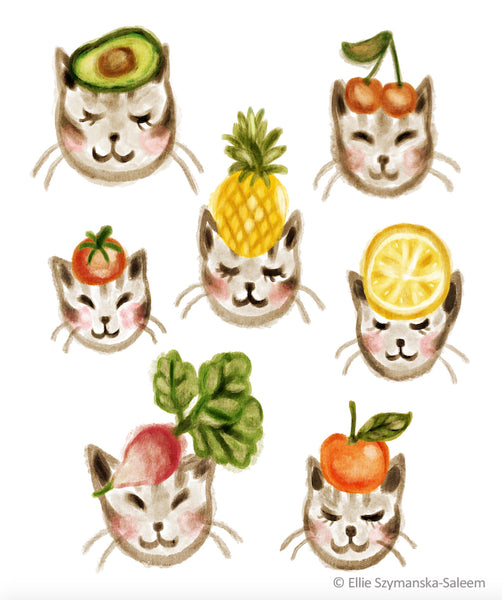 Fruit Kitties art by Ellie Szymanska-Saleem