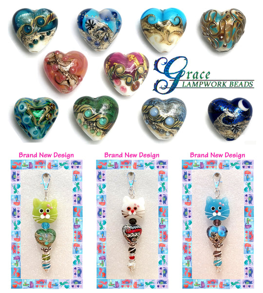 """Graceful Kittys"" designer Kitty zipper pulls created by Inga Binyon of 4MyMeow"
