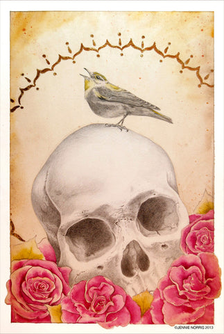 Graveside Vigil by Jennie Norris - Watercolor & Pencil Drawing of Skull and Roses