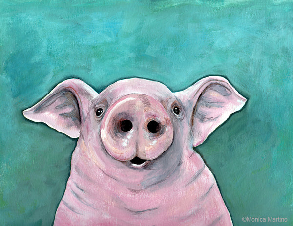 Happy Pig by Monica Martino
